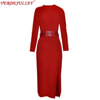 European Fashion Spring Sexy Dresses 2019 Fashion Long Sleeve Slim Red Knitting Belt Women Split Ladies Popular Hot Dress