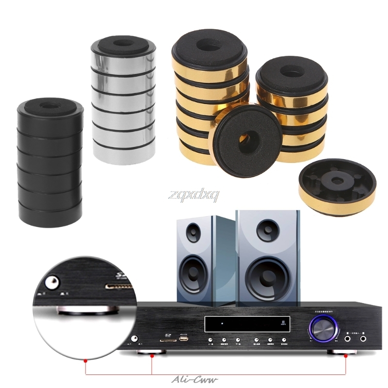 Hearty 10pcs Stereo Audio Speakers Amplifier Chassis Anti-shock Shock Absorber Foot Pad Feet Pads Gold Vibration Absorption Stands Aug