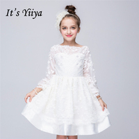 It's YiiYa White Full Boat Neck Appliques Pattern Lace Kids Princess Flower Girls Dress For Little Gilrs Communion Dress TS091