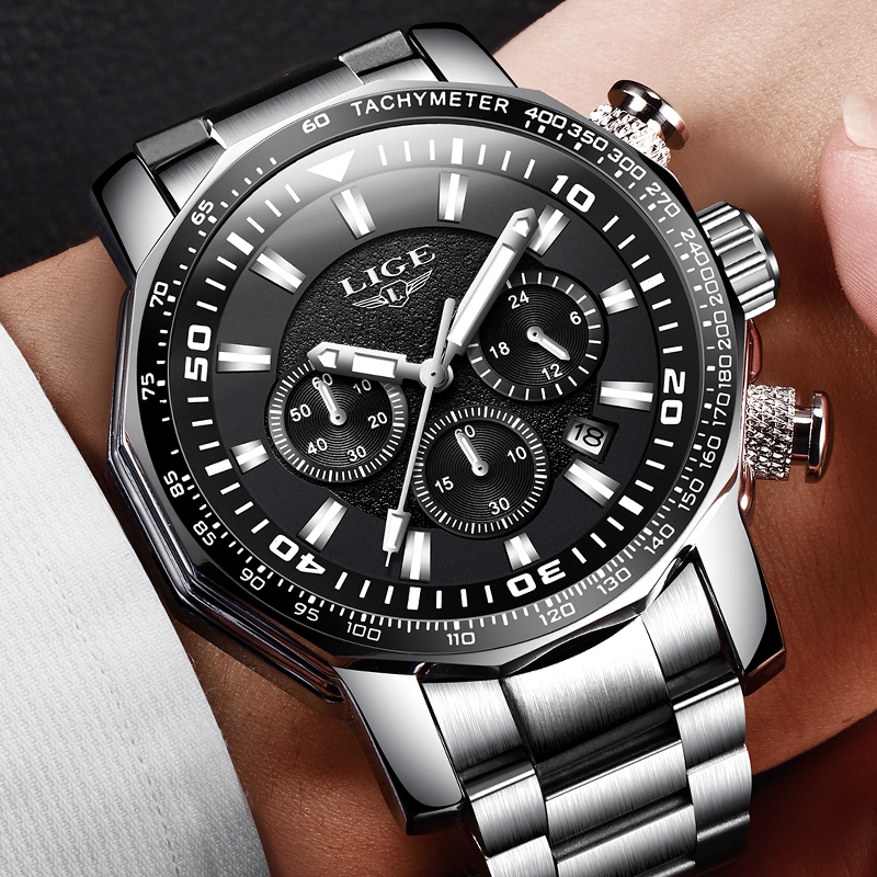 Men Watches LIGE Top Brand Luxury Casual Quartz Clock Men Full Steel Waterproof Big Dial Military