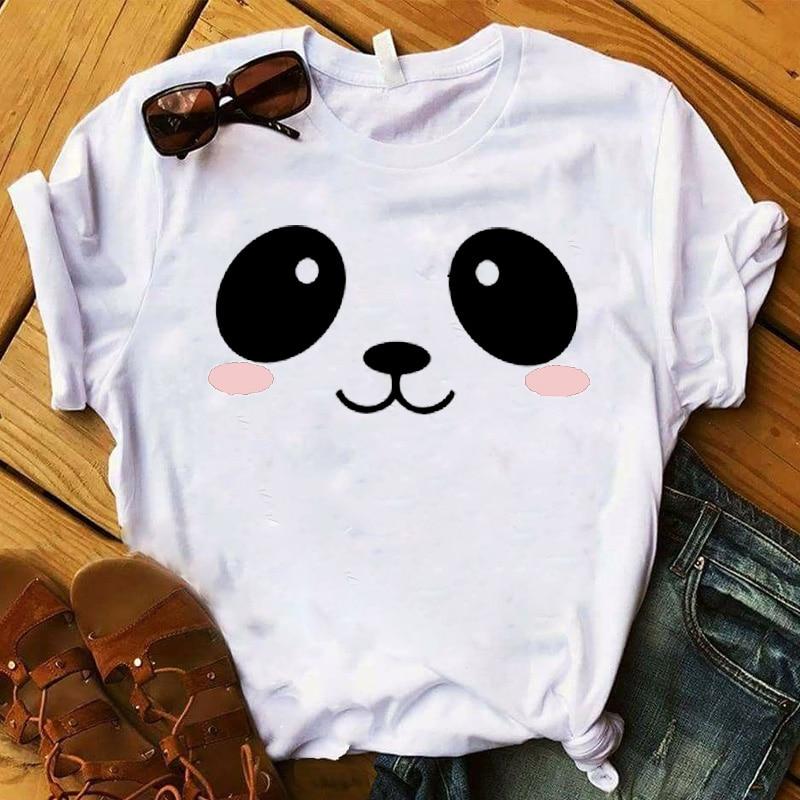 Women T Womens Cartoon Panda Face Cute Summer Print Graphic Tee Shirt Femme Top Tshirt Female Ladies Clothes T-shirt