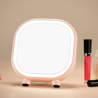 Beauty LED Makeup Mirror Rechargeable LED Cosmetic Makeup Mirror Portable Night Light Table Lamp Magnifying Mirror