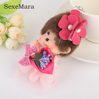 Cute Dolls Wearing A Flower Monchhichi Luxury Key Chain Car Key Ring Holder Porte Clef Women Girl Key Chains Trinket Pendant