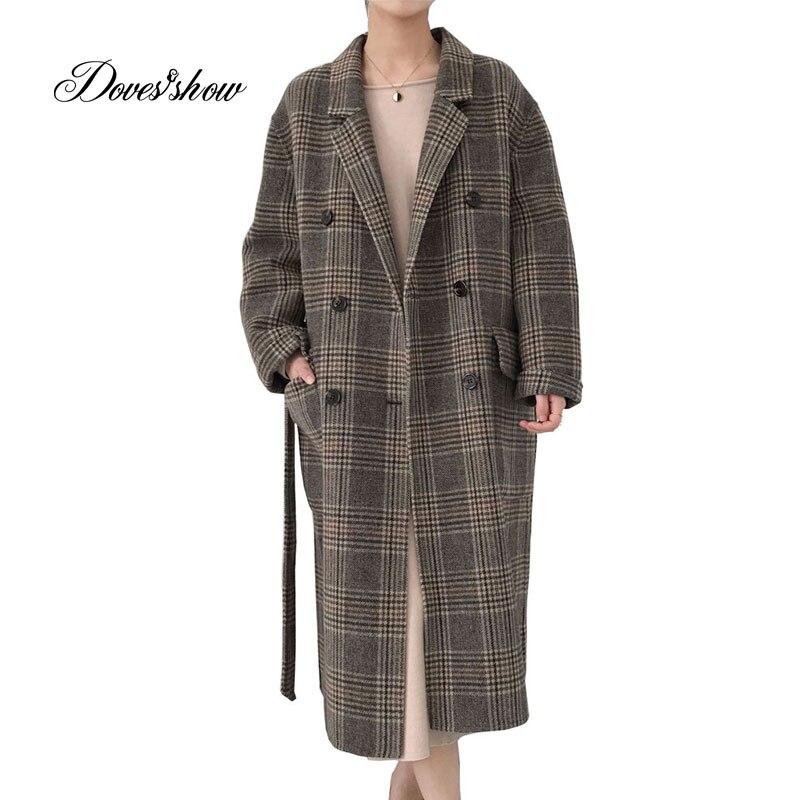 Fait à la main Femmes Poule Ceinture Cachemire Manteau Occasionnel Hiver Laine Veste Pardessus Casaco Feminino abrigos mujer invierno 2018
