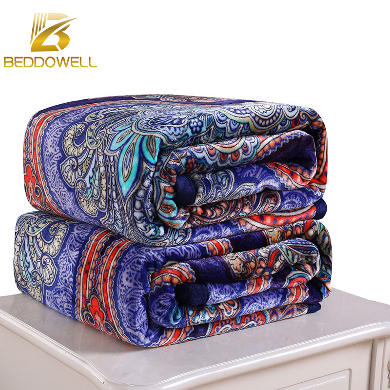 Blanket On The Bed Floral Pattern Printed Super Soft Coral Fleece Flannel Plaid Twin Full Queen Single Double Size <font><b>Sofa</b></font> Blanket