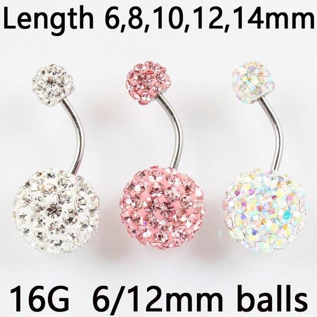 6/12mm כדור 16 גרם לא אלרגי נירוסטה פירסינג אורורה לבן ורוד למעלה איכות טבור בר גוף תכשיטים