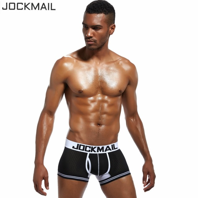 585e27775ab44 € 18.98 15% de réduction|5 pcs/lot Nouvelle Mode hommes sous vêtements  Marque mâle Maille boxeurs shorts Sexy slip slip Respirant Hommes Boxeur ...