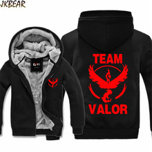 Pokemon Go Team Valor Moltres Print Thicken Hoodies for Men and Women Pocket Monster Faux Fur Lined Big Hood Jacket Coats M-3XL