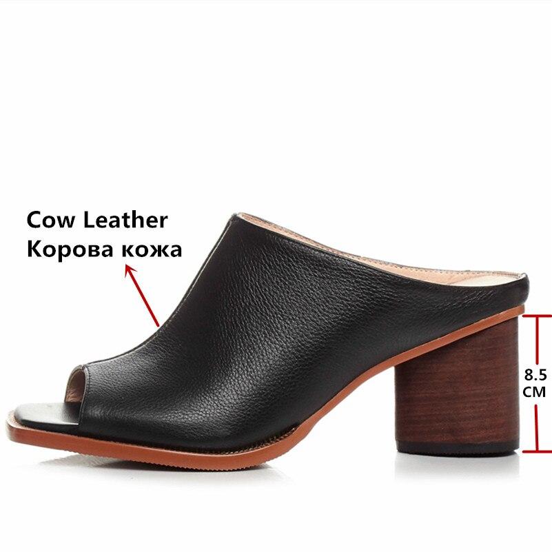 FEDONAS été femmes sandales en cuir véritable de haute qualité confortable en cuir à talons hauts respirant sandales dame chaussures femme-in Sandales femme from Chaussures    3