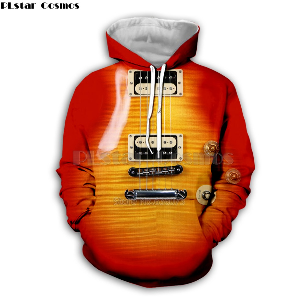 Guitar Art Musical Instrument 3D Print Long Sleeve Fashion Hoodie Hip Hop Tee Style Hooded Streetwear Casual Zipper Tops Style2