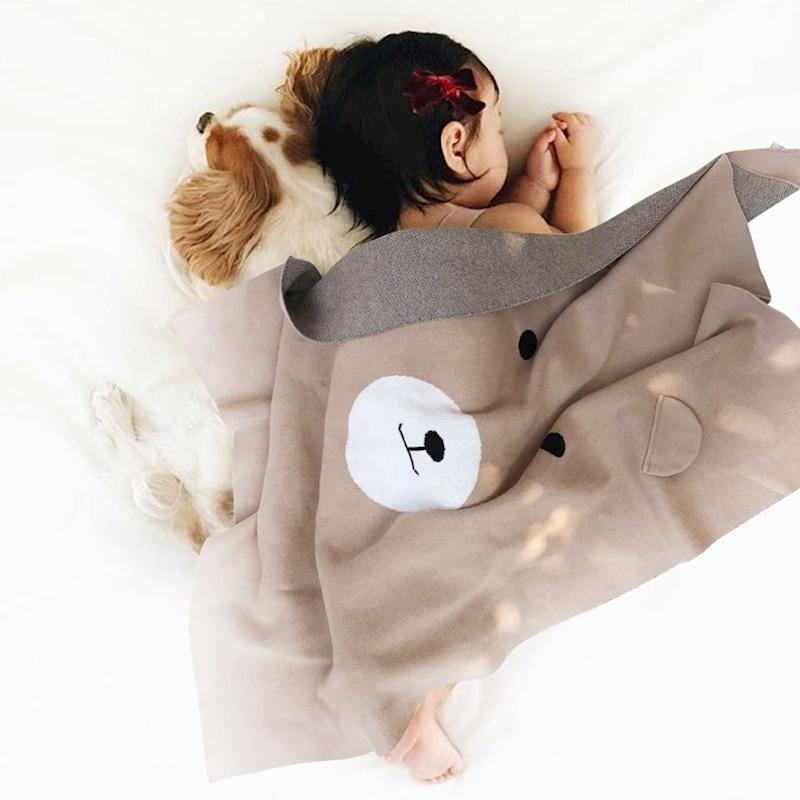 Nordic Baby Blanket Swaddling Cartoon Bear Pattern Knitted Baby Inbakeren Trolley Air Conditioning Baby Blankets Newborn Bedding