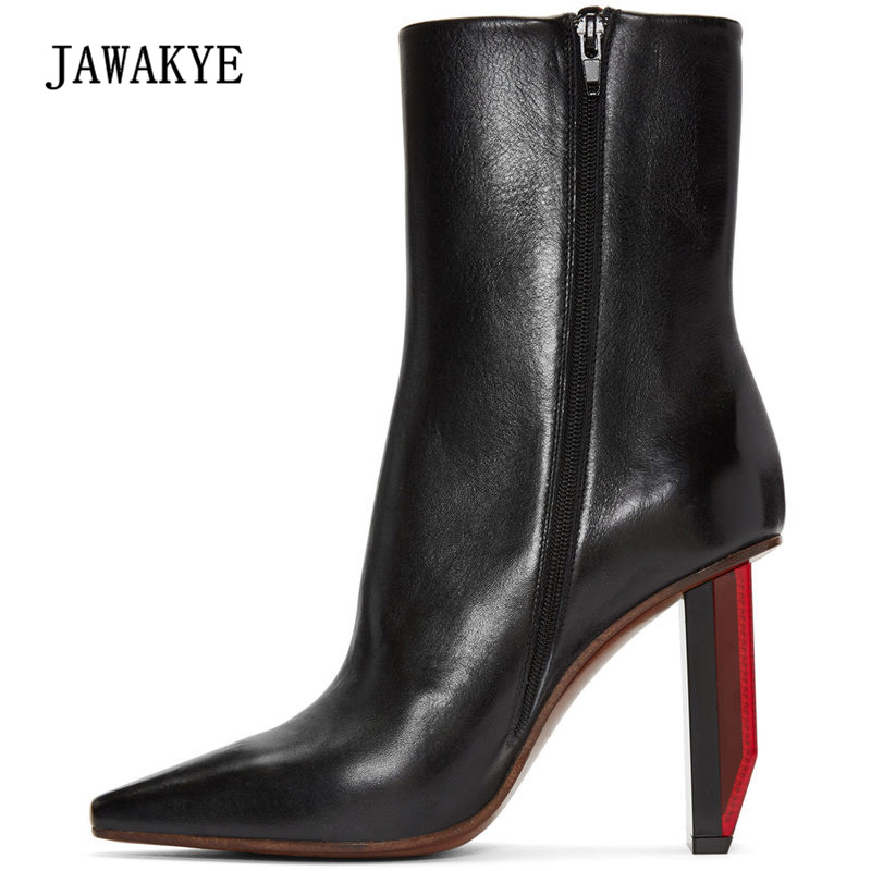 JAWAKYE Real Leather Lights Heel Ankle Boots Women Sexy Pointed Toe 9cm High Heel Shoes Woman Fashion Martin Boots 2017 2017 newest stars do old boots woman pointed toe black real leather high heel martin boots women fashion chelsea boots