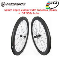 Tubeless ready 700C carbon wheels for bicycle 50mm 25mm no outer spoke holes UD Matte Hotselling Farsports wheelsets