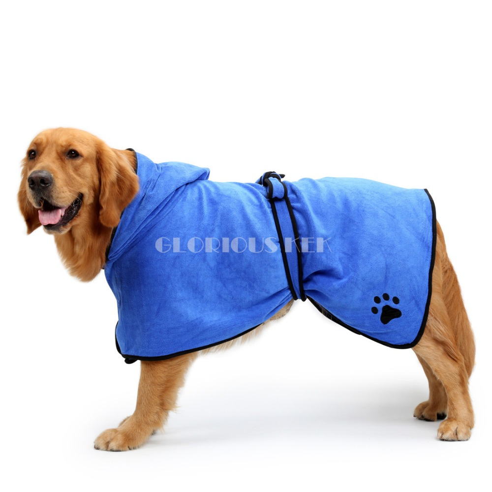 XS-XL Dog Bathrobe Warm Dog Clothes Super Absorbent Pet Drying Towel Embroidery Paw Cat Hood Pet Bath Towel Grooming Pet Product