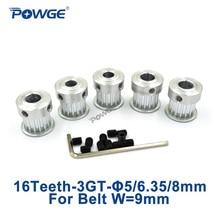 POWGE 5pcs 16 Teeth 3GT 타이밍 풀리 보어 5mm 6.35mm 8mm 너비 9mm 3GT 오픈 벨트 GT3 3MGT 동기 풀리 16 Teeth 16 T