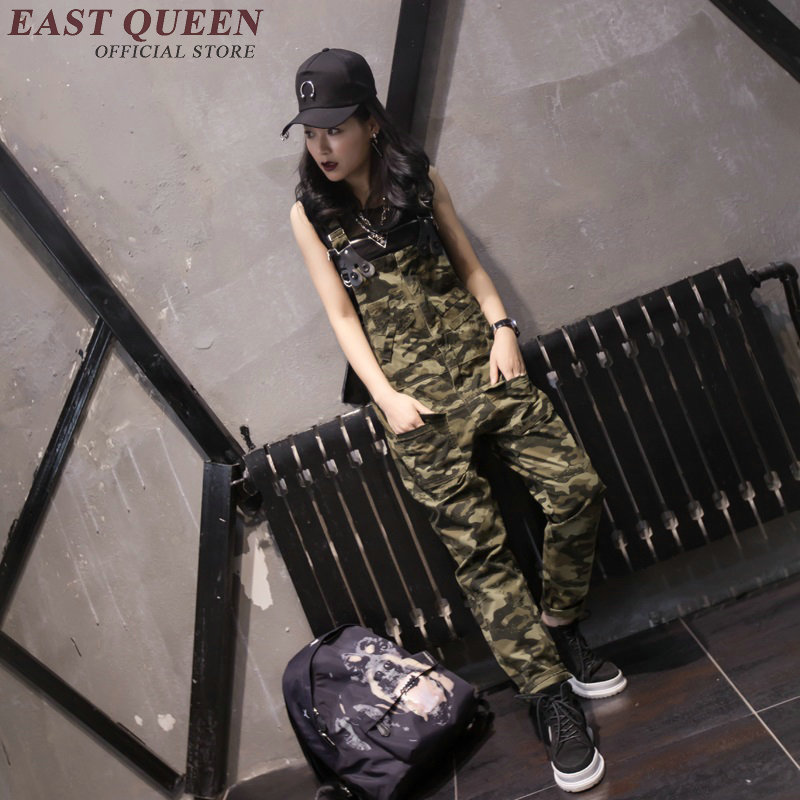 Camouflage print military jumpsuit casual rompers womens jumpsuit fashion cargo pants long suspender trousers KK1545 HQ