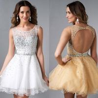 Hot Sale 8th Grade Prom Dresses Scoop A Line Homecoming Dresses 2017 Beaded Sexy Open Back