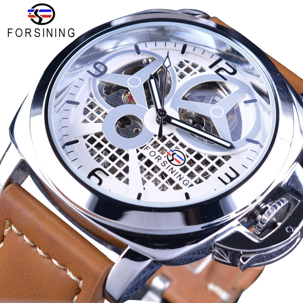 Forsining Brown Genuine Leather Military Pilot Series Men Creative Sport Watches Top Brand Luxury Automatic Skeleton Wristwatch