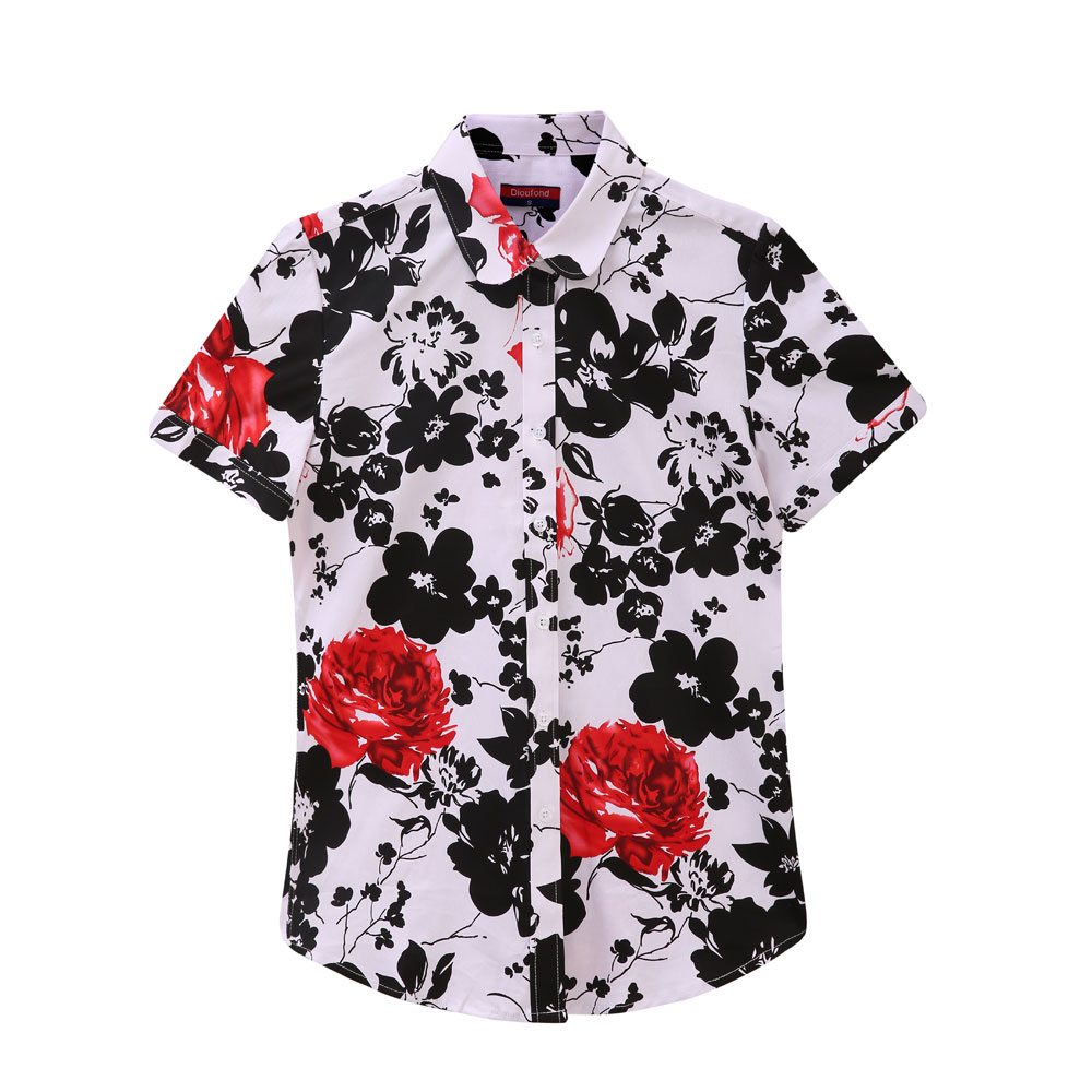 Lily_Wardrobe Dioufond Women Summer Tops 2017 Plus Size Short Sleeve Shirt Cotton Floral Blouse Turn Down Collar Shirt Blusa Women Casual Top