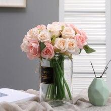 yumai 1 Bundle Silk Rose Flowers Artificial Bouquet Pink Roses Bride Hand Flower for Wedding Centerpieces Table Decoration