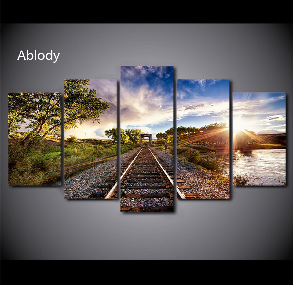 5Plane Canvas Art Railway Sights Sunset Tree Canvas Painting Print And Poster Pictures Wall Home Decor Picture For Living Room