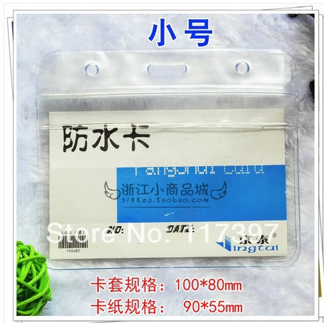 Office & School Supplies 100mm*80mm Wholesales Clear Vinyl Name Card Holder Water-proof Card Certificate Case Horizontal 100pc/lot Responsible Size