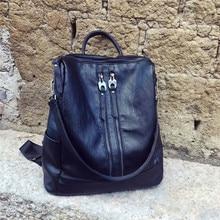 100% Cuir véritable из овечьей кожи женские рюкзак двойной молнии школьная сумка для подростков Meninas Mochila Feminina XB1606