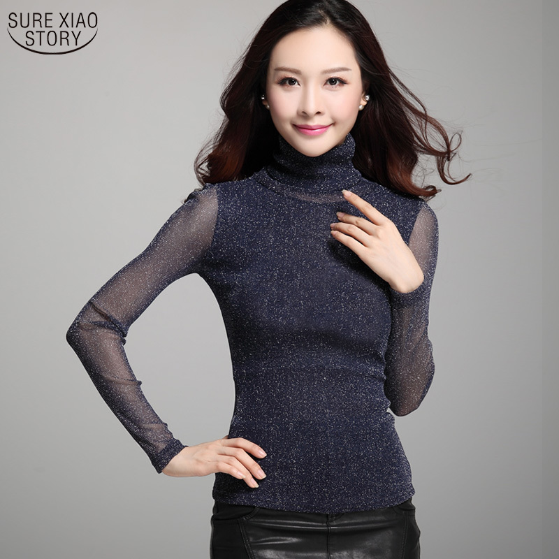 2017 New Hot Sale Fashion and Causal Silver Thread Women Tops Female Large Size Sexy Grenadine Mesh Bottoming Shirt 63E 30