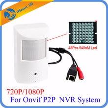 CCTV PIR Mini P2P 720P / 1080P Camera HD 3.7mm Lens Buiit in 48pcs 940nm Night vision LED HD IP Camera For Onvif IP NVR System