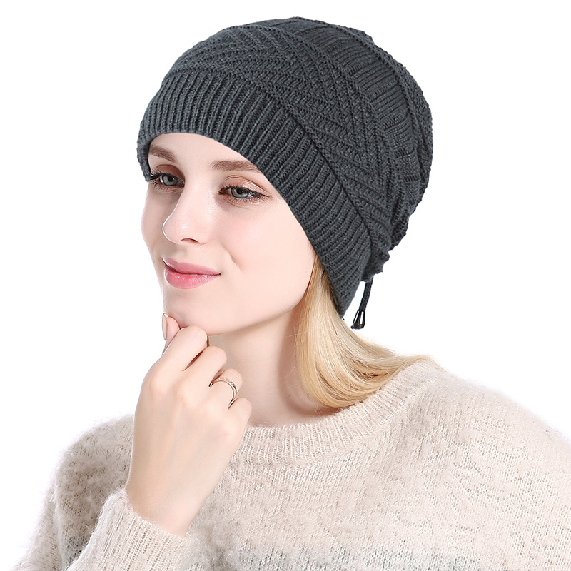 Image 4 - 2019 Ponytail Beanie Winter Skullies Beanies Caps ladies fashion multi function warm hat For Women outdoor Female Knit Hat  Z104-in Women's Skullies & Beanies from Apparel Accessories