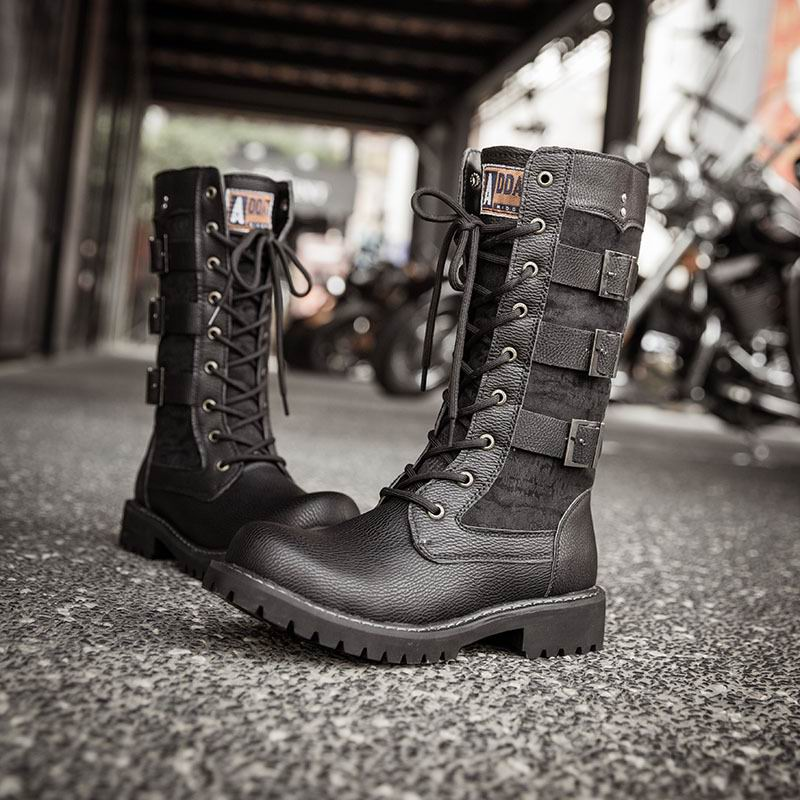 ERRFC Luxury Mens Black Rding Boots Fashion British Designer Buckle Lace Up Man Motorcycle Boots Punk