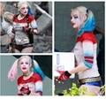 Suicide squad харли квинн косплей костюмы женщина джокер и рубашки женщины мужчины harley quinn топ шорты Футболка взрослых сексуальный костюм