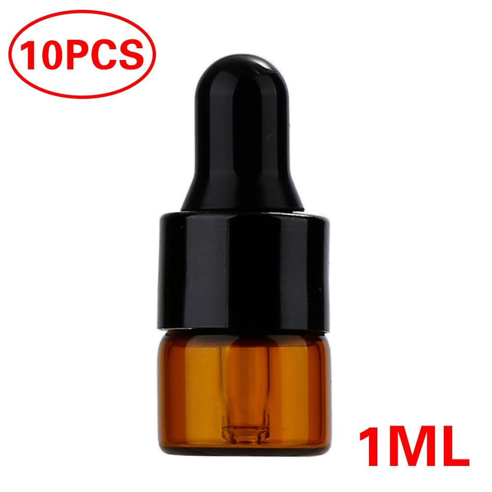 Portable 10pcs Refillable Esstenial Oil Liquid Container 1ml 2ml 3ml Mini Empty Makeup Glass Bottle with