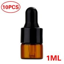 Portable 10pcs Refillable Esstenial Oil Liquid Container 1ml/2ml/3ml Mini Empty Makeup Glass Bottle with Glass Eye Dropper