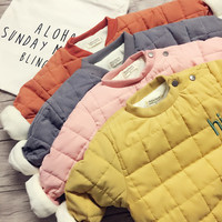 Autumn And Winter Explosion Of Childrens Boys Cashmere Sweater With Korean Girls Quilted Jacket Thick Bread Children Clothing