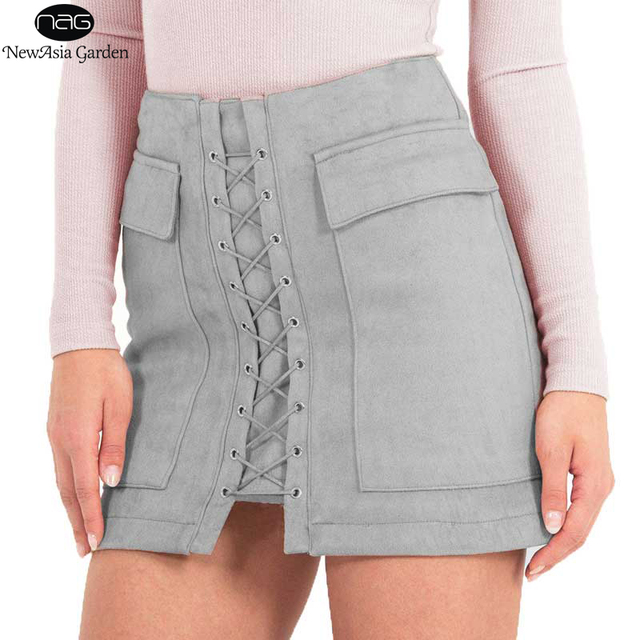 d56569c910 Hot Sale Women's Lace Up Suede Skirts High Waist Winter Autumn Spring  Casual Pocket Mini Pencil