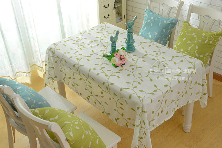 Beige Floral Green Tablecloth Round Natural Leaves Countryside Fabric Cover  Embroidery Olive Table Cloth Cover In Tablecloths From Home U0026 Garden On ...