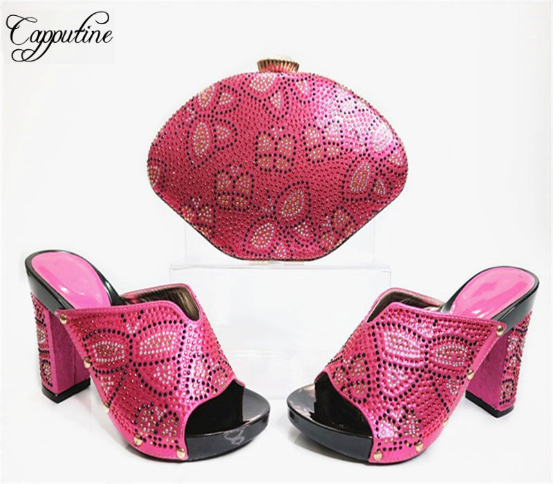 Capputine New Nigeria Style Rhinestone Shoes And Bag Set Itlaian Elegant Slipper Shoes And Bag Set For Party Free Shipping G31