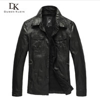 Dusen Klein men's leather jacket vegetable tanned sheepskin men's motorcycle Pocket shirt models retro style leather coats B0102