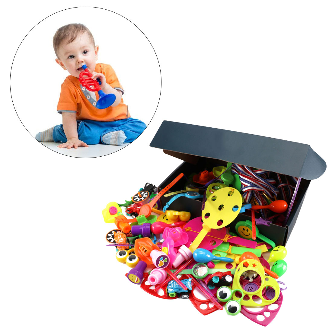 Assorted Gift Toys Giveaways Kids 120 Pcs Bags Carnival Prizes Festive Party Supplies plastic Fillers