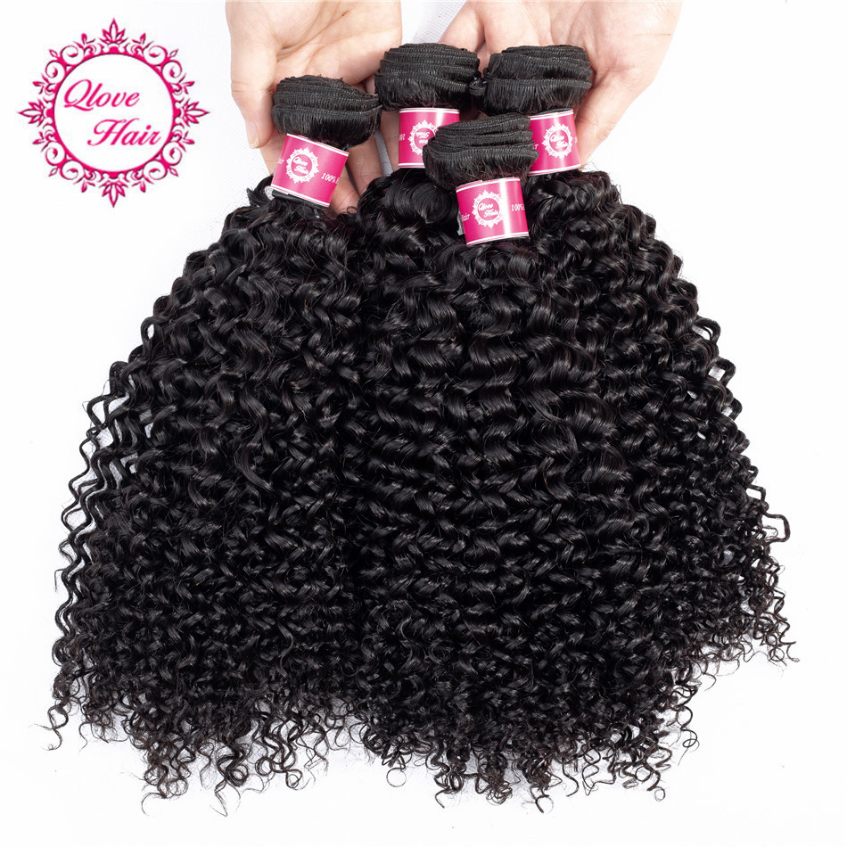 QLove Pre-colored 100% Human Hair Extensions Malaysian Bundles kinky Curly Hair Non Remy Hair Buy 3 or 4 Bundles Natural Color