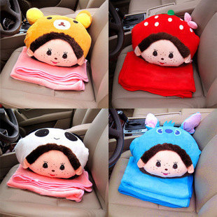 free shipping Hand pillow cushion MONCHHICHI air conditioning blanket cloth doll birthday gift