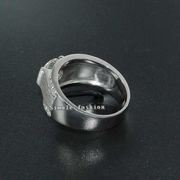 Vecalon Роскошные Модные украшения Обручальное кольцо для Для мужчин 2ct 5A Циркон CZ стерлингового серебра 925 мужской Обручение палец кольцо