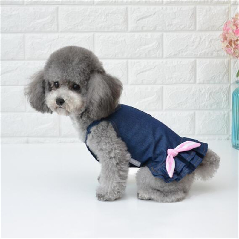 2019 Newest Cotton Denim Clothes Dog Dress Princess Summer Pet Puppy Dresses For Small Dogs Teddy Pug Dress 2 Colors Clothing 02 in Dog Dresses from Home Garden