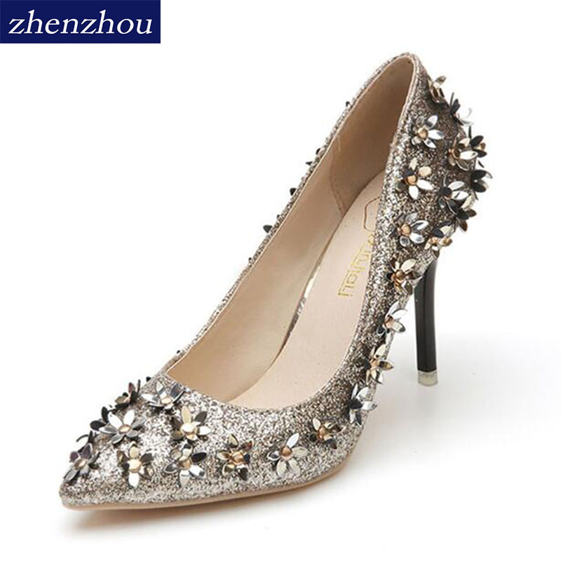2017 autumn paragraph shallow mouth pointed high heels shoes small flower sequins rivets fine with a single shoe female shoe 14cm sexy fine with nightclub shiny diamond high heels spring and autumn shallow mouth princess wedding shoes