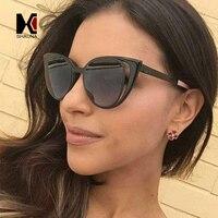 NEW Summer Cat Eye Sunglasses Women Metal Hollow Brand Designer Mirror Coating Round Shades Lladies Female