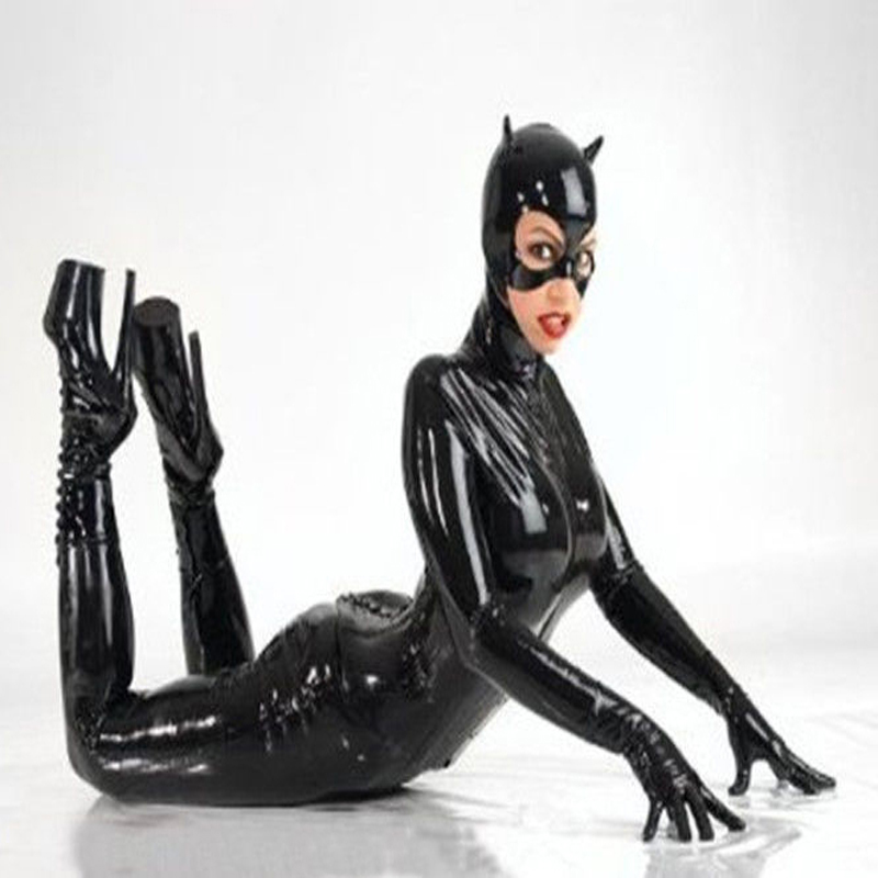 04e4a4619c9 ... about Women Black Faux Leather Catsuit Sexy Catwoman Costume Cat Cosplay  Footed Jumpsuit Stretchable 2 Way Zipper Bodysuit With Mask on  Aliexpress.com ...