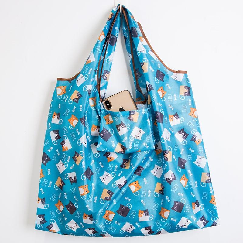 Big Size Thick Magic style Nylon Large Tote ECO Reusable Polyester Portable Shoulder Handbag Folding Pouch Shopping Bag Foldable