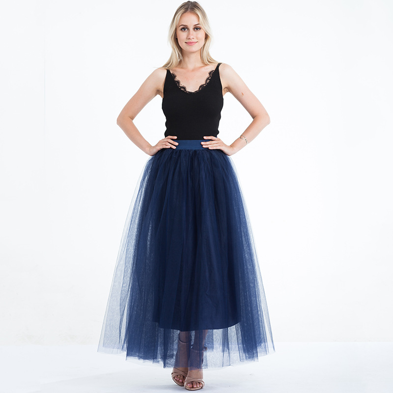 4 Layers 100cm Floor length Skirts for Women Elegant High Waist Pleated Tulle Skirt Bridesmaid Ball Gown Bridesmaid Clothing 23