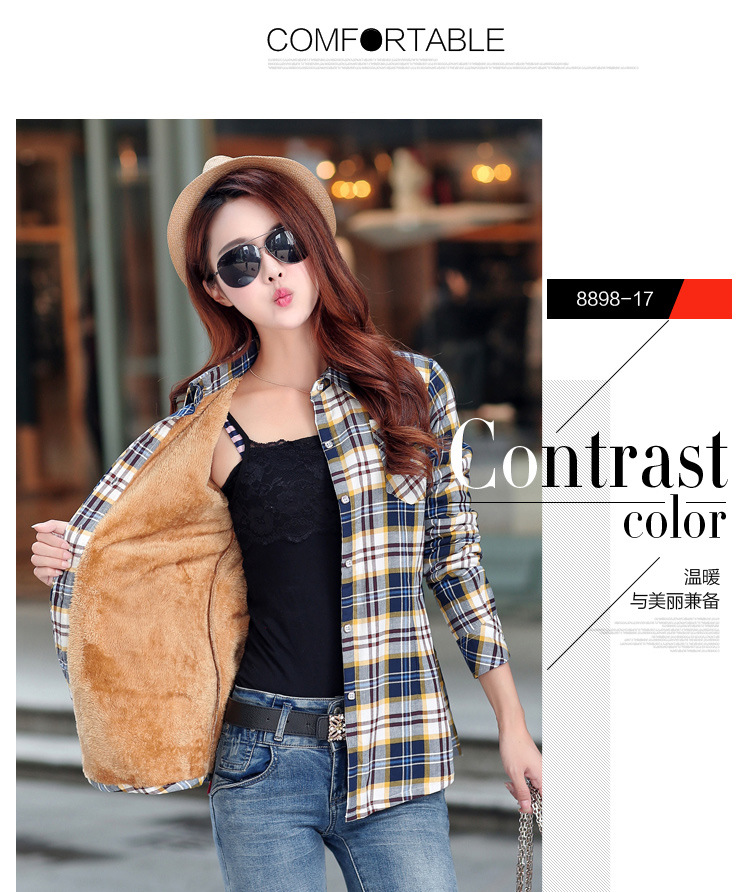 19 Brand New Winter Warm Women Velvet Thicker Jacket Plaid Shirt Style Coat Female College Style Casual Jacket Outerwear 34